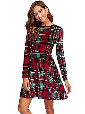 MakeMeChic Women's Vintage Velvet Long Sleeve Casual Flare Dress