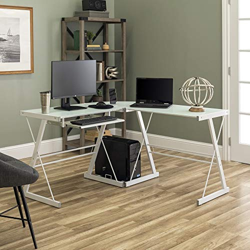 """New 51"""" Corner Writing Computer Office Desk - White Metal & Tempered Glass"""