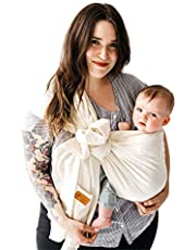 Kyte BABY Ring Slings Holds Babies from 8 to 35lbs - 100% Pre-Washed Linen 80 Inches Long, Extremely Comfortable with Full Support, Rose Gold Rings
