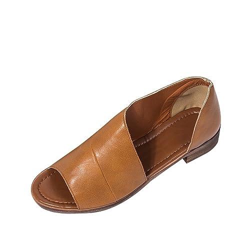 Sandalias de Vestir Cuero para Mujer, QinMM Casual Zapatos Verano Chanclas Fiesta Playa Mocasines (