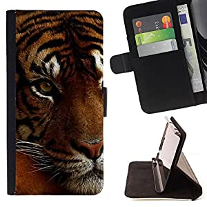 For HTC One M7 Tired Sleepy Big Cat Orange Fur Tiger Style PU Leather Case Wallet Flip Stand Flap Closure Cover