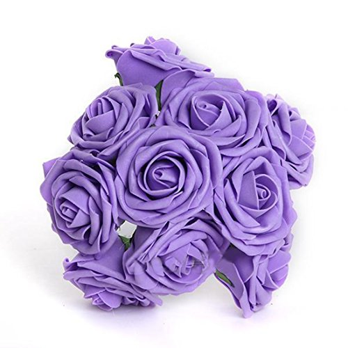 CY-buity 50Pcs Romantic Handmade Artificial Wedding Engagement Flower Bridal Rose Bouquet Purple