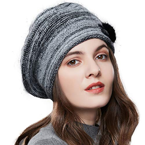 Winter French Beret for Women 100% Angora Wool Classic Beret Beanie
