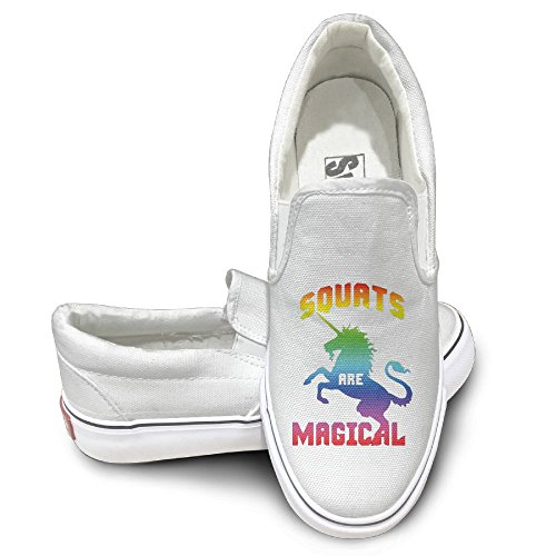 SH-rong Unicorn Squats Are Magical Unisex Canvas Sneakers Shoes Size 36 White by SH-rong