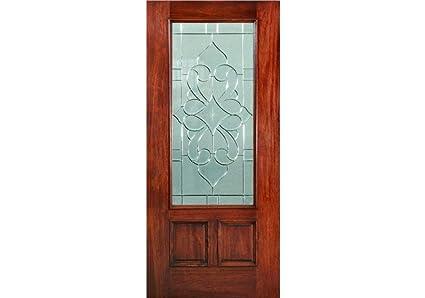 Eto Doors Venetian Slab Exterior Mahogany Wood 2 Panel Venetian