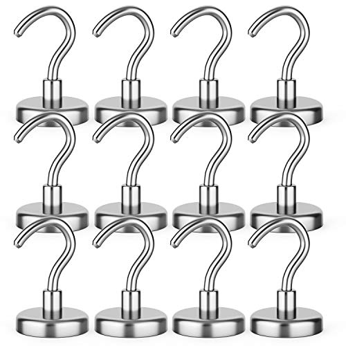 Wakusei Magnetic Hooks 25 lbs for Kitchen, Refrigerator, Towels, Grill, Tool Box, Office, Wall Mounting or Outdoor Hanging, 12 Packs