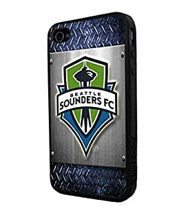 Soccer MLS Seattle Sounders FC Logo, Cool iPhone 4/4s / 4s Smartphone iphone Case Cover Collector iphone TPU Rubber Case Black