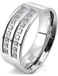 Men's 8mm Stainless Steel Ring CZ Silver Tone Comfort Fit Band Wedding Engagement