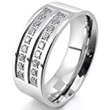 stainless steel ring cz - INBLUE Men's 8mm Stainless Steel Ring CZ Silver Tone Comfort Fit Band Wedding Size8