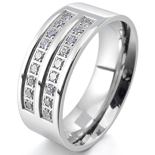 INBLUE Men's 8mm Stainless Steel Ring CZ Silver Tone Comfort Fit Band Wedding Size8 (Steel Cz Ring)