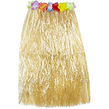 Hawaiian Luau Hibiscus Green String & Colorful Silk Faux Flowers Hula Grass Skirt for Costume Party, Events, Birthdays, Celebration (1 Count) by Super Z Outlet (Brown)
