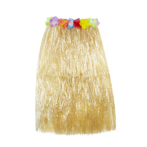 Super Z Outlet Hawaiian Luau Hibiscus Green String & Colorful Silk Faux Flowers Hula Grass Skirt for Costume Party, Events, Birthdays, Celebration (1 Count) (Brown)
