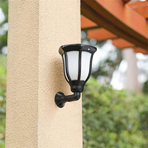 - Maikouhai Garden Wall Light Sconce, Flickering Solar Wall Lamp Built-in Night Sensor 96 LED, Outdoor Square Porch Patio Staircase Balcony Decor, 14x14x16cm, Black