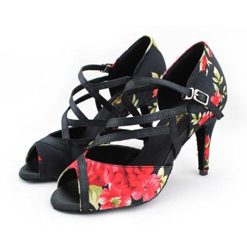 Abby Q-6107 Scarpe Da Donna Con Lustrini Ballroom Dance2.4 / 3.3 / Scarpe Tacco 4flared Nere