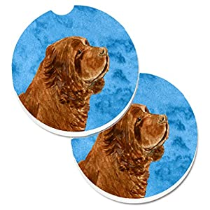 Caroline's Treasures SS4786-BUCARC Blue Sussex Spaniel Set of 2 Cup Holder Car Coasters, Large, multicolor 27