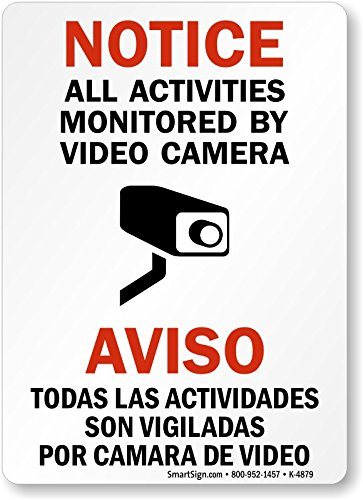 """Notice - All Activities Monitored By Video Camera"" Bilingual Label By SmartSign 