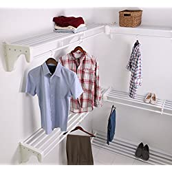 EZ Shelf EZS-K-SCRW72-5-4 Walk-in Closet Kit Hanging and Shelf Space, White