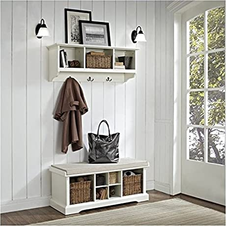 Bowery Hill 2 Piece Entryway Bench And Shelf Set In White