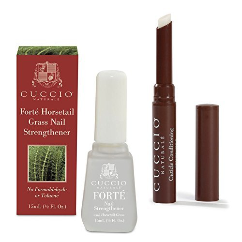 Bundle of 2 items: Cuccio Naturale Cuticle Conditioning Butter Stick in Milk & Honey and Forte Horsetail Grass Nail Strengthener