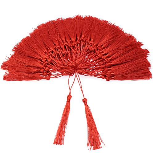 VAPKER 100 Pieces Red Tassels 13cm/5-Inch Silky Handmade Soft Tassels Floss Bookmark Tassels with 2-Inch Cord Loop for Jewelry Making, DIY Projects, Bookmarks