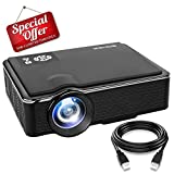 Home Theater Mini Projector - SOMEK Led Portable Projector 1080p HDMI USB AV VGA Micro SD Card Support, HD Movie Projector for Laptop/PC/DVD Player/Video/Outdoor/Game/Party