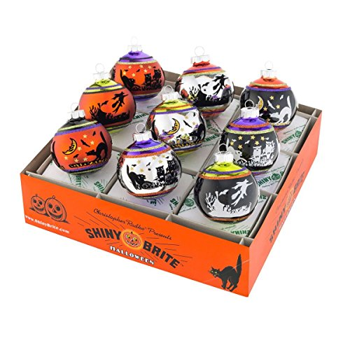 Shiny Brite Halloween Signature Flocked Ornaments - Set of Nine