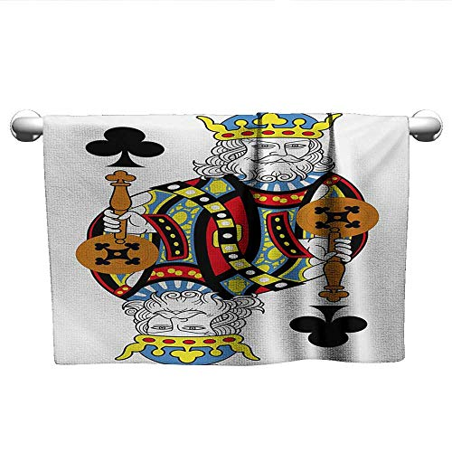 xixiBO Wholesale Towel W14 x L14 King,King of Clubs Playing Gambling Poker Card Game Leisure Theme Without Frame Artwork,Multicolor Environmentally Friendly Bath Towel