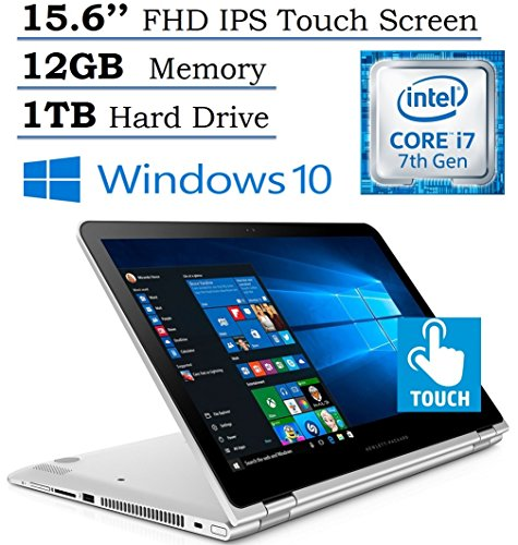HP Envy 15.6' x360 2-in-1 Convertible Full HD IPS Touchscreen Laptop| Intel Core i7-7500U | 12GB RAM | 1TB HDD | Backlit Keyboard | Bluetooth | HDMI | B&O Play | Windows 10 (Silver)