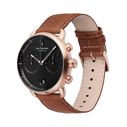 Nordgreen Pioneer Scandinavian Rose Gold Men's 42mm Chronograph with Black Dial and...