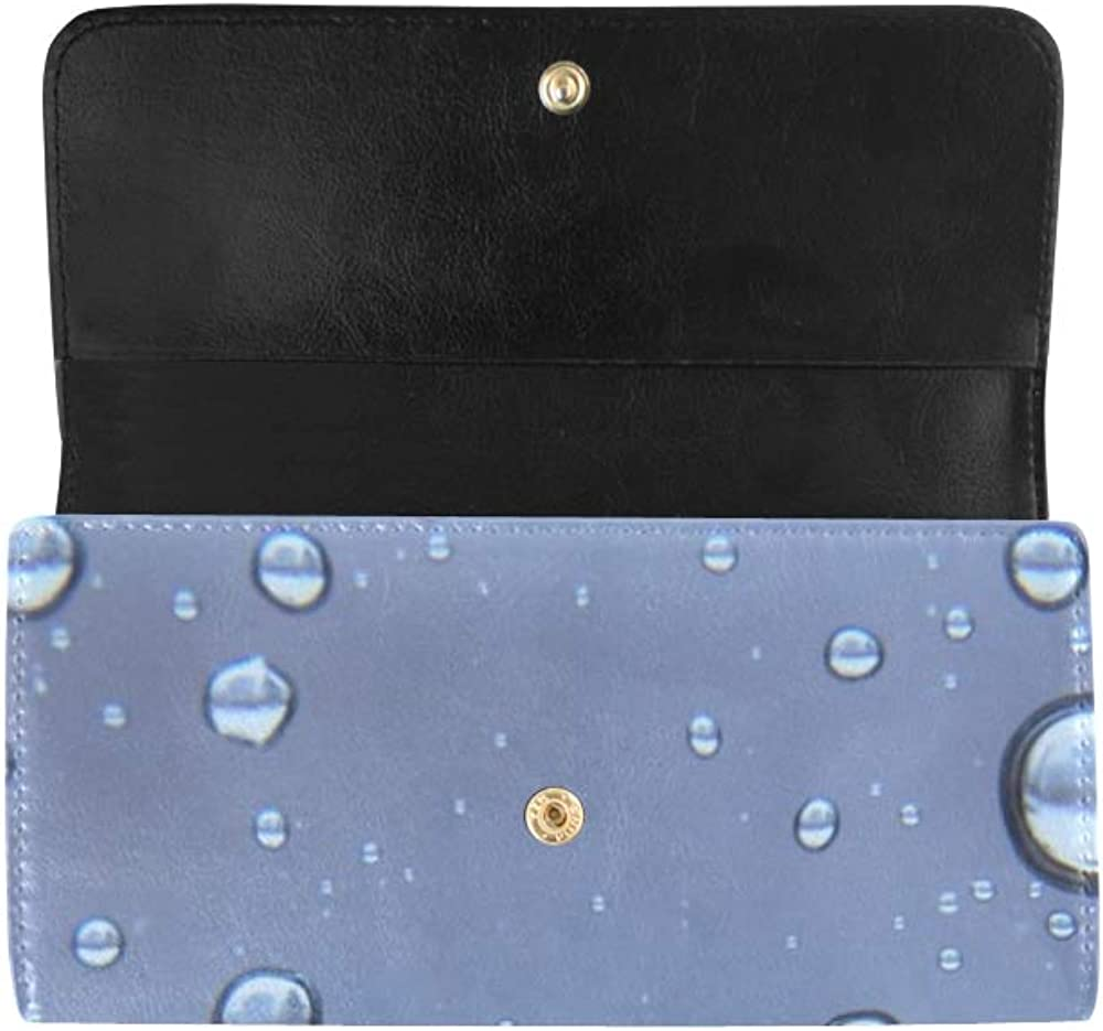 Unique Custom Rain Raindrops Rain Drop Storm Droplet Blue Moody Women Trifold Wallet Long Purse Credit Card Holder Case Handbag