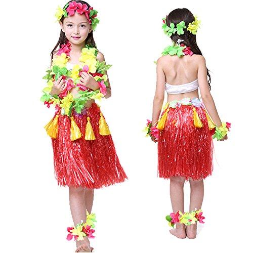 Kids Hawaiian Hula Dance Costume Ballet Performance Cosplay Dress Skirt Garland For Girl Child 40CM Full Sets