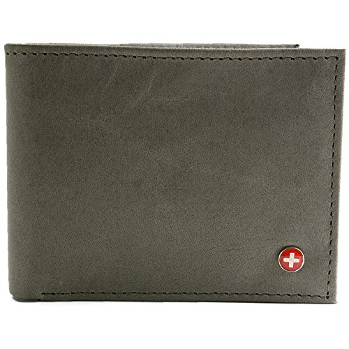 Fold Bi Distressed Leather (Alpine Swiss Men's Multi-Card Compact Center Flip Bifold Wallet Distressed Grey)