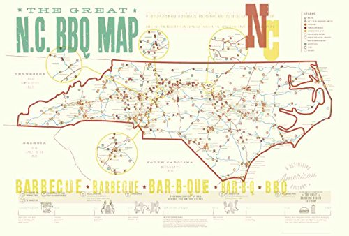 Great Nc Bbq Map Poster