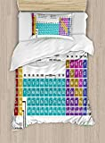 Twin XL Extra Long Bedding Set, Periodic Table Duvet Cover Set, Educational Artwork for Classroom Science Lab Chemistry Club Camp Kids Print, Cosy House Collection 4 Piece Bedding Sets