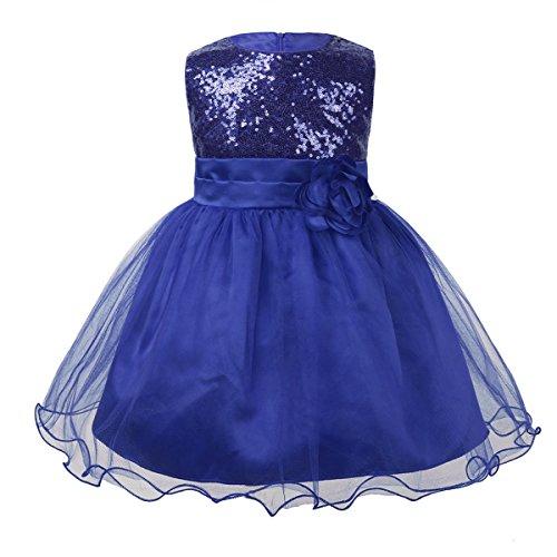 iiniim Baby Girls Sequins Formal Wedding Pageant Birthday Tutu Princess Party Flower Girl Dress Royal Blue 9-12 Months -