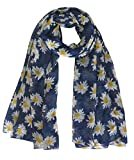 Lina & Lily Daisy Flower Print Women's Large Scarf Shawl Wrap (Navy Blue)