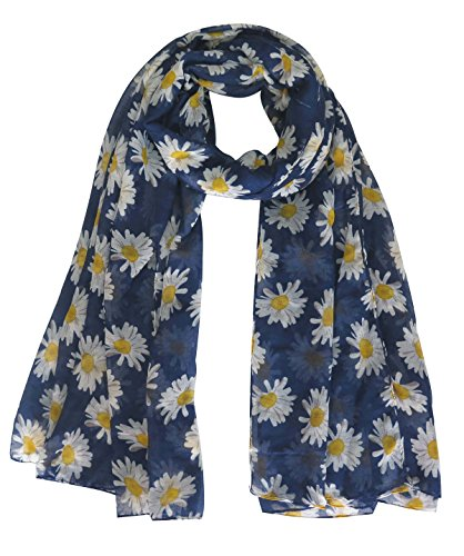 Lina & Lily Daisy Flower Print Women's Large Scarf Shawl Wrap (Navy Blue)
