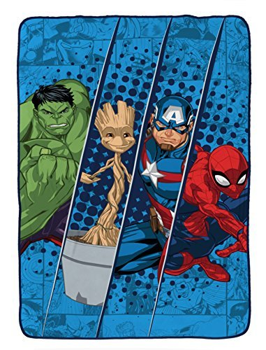 Marvel Universe Battlefront Plush 62'' x 90'' Twin Blanket with Hulk, Groot, Captain America & Spiderman by Marvel