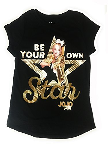 JoJo Siwa Be Your Own Star Black and Gold Fashion T-Shirt (Medium 7/8) ()
