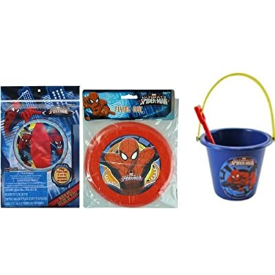 "Spiderman 20"" Beach Ball + Frisbee + Sand Bucket and Shovel Set: Toys & Games"