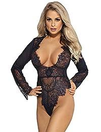 Lvoydo Womens Lace Long Sleeve Teddy Bodysuit Lingerie Deep V Neck Lace Bodysuit