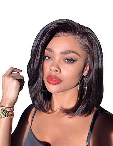 150% Density 360 Lace Frontal Wig Pre Plucked, MS.ILSA Bob Human Hair Wigs Brazilian Remy Frontal Wigs Human Hair Natural Color 10 Inches by MS.ILSA