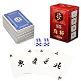 Chinese Mahjong Cards Board Game Toys - Portable Jong 144 Paper Mahjong Chinese Playing Cards Game Travel Set Dice - Formosan - 1PCs