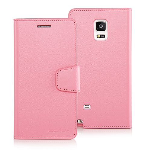 [Drop Protection] Goospery Sonata Diary [Wallet Case] Premium Soft Synthetic Leather Case [ID/Credit Card Slots + Cash Pocket] Cover for Samsung Galaxy Note 4 (Pink) NT4-SON-PNK ()