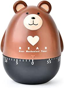 Lovely Cartoon Bear Mechanical Timers 60 Minutes Machinery Kitchen Gadget Cooking Timer Clock Loud Alarm Counters Manual Timer (Brown)