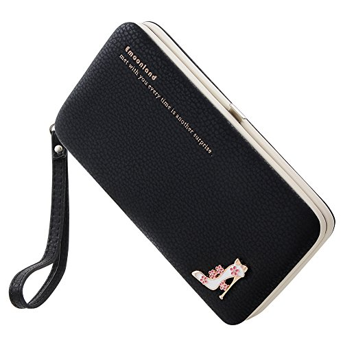 Smartphone Wristlet,Ladies Clutch Purse Wallet Mobile Phone Wristlet Wallet Large Capacity with Strap Wrist for iPhone 8/ 8 Plus/7/ 7 Plus/6S /6S Plus/6 /Samsung Galaxy S8/S7/S6 by Emoonland (Black )