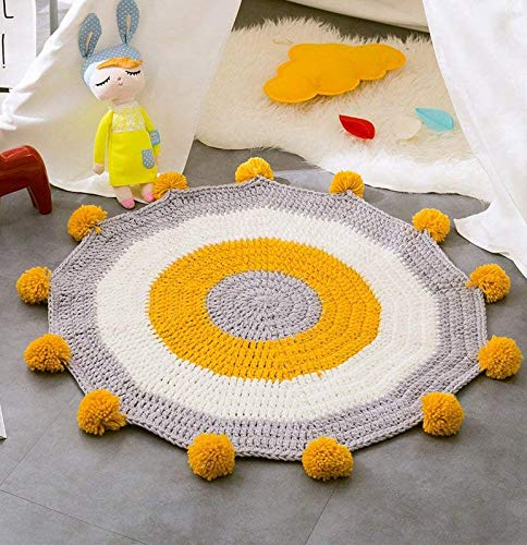 Round Rugs for Kid's Play Mat Handmade Floor Decor Carpet (31.5'' x 31.5'') Cotton Cable Knitted Children's Game Baby Room Decorative Cartoon Animal Area Rugs Yellow by YaYi