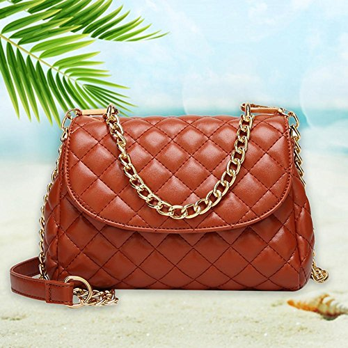 Brown Chain Handbag Shoulder Plaid Messenger Flap Bags Lady Simple Leather Light Domybest Women xYqXf7wt8