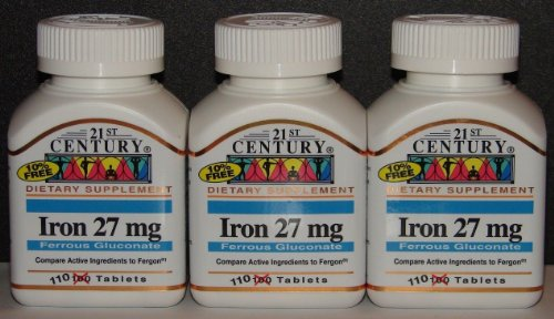 21st Century Iron 27mg Ferrous Gluconate (Compare to Fergon) 100ct Bottle -3 Pack (3) (Fergon Iron Supplement compare prices)