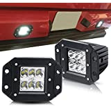 TURBOSII Spot 3X3 4.5In Flush Mount Pods Cube Reverse Backup Lamp Auxiliary Driving Fog Lights Bumper Grille Offroad...